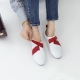Women's leather cross ribbon velcro sneakers red