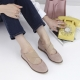 Women's synthetic suede round toe hidden wedge cross strap pumps Beige