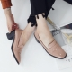 Women's synthetic leather square toe penny loafers heels pumps beige