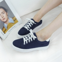 Women's synthetic fabric round toe lace ups sneakers navy