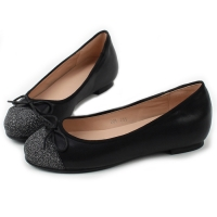 Women's synthetic leather round glitter toe ribbon flat shoes black