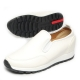 Men's white synthetic leather platform height side gores slip-on sneakers increase insoles shoes US 7 - US 10.5