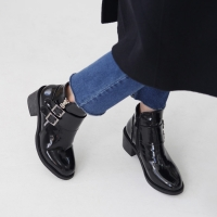 Women's glossy black synthetic leather med chunky heels ankle boots