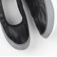 Women's real leather round toe side thick platform shoes black white
