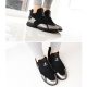 Women's synthetic leather round toe sneakers black silver