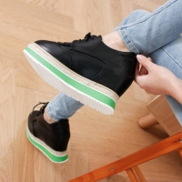 Women's synthetic leather round punching toe lace ups hidden wedge platforms sneakers black white