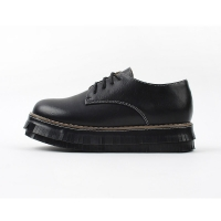Women's synthetic leather plain toe lace up thick platform fringe heels oxfords black brown