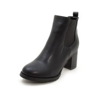 Women's both side insert gore synthetic leather round toe bold heels ankle boots black