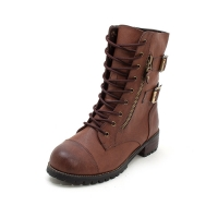 Women's combat sole synthetic leather cap toe lace up double buckle side zip closure boots black brown