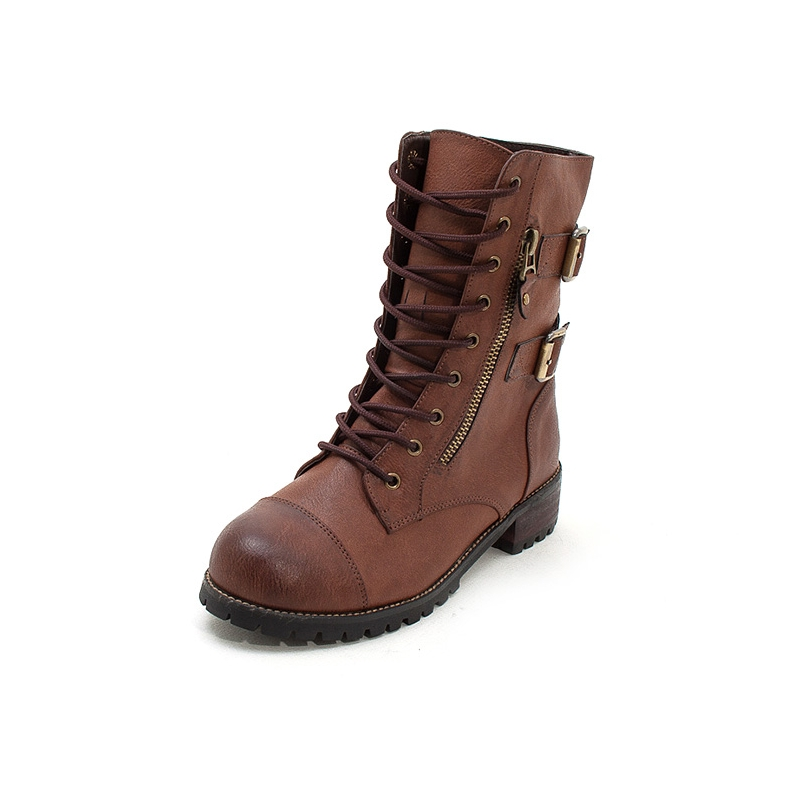 0f192e438a6eb Women s combat sole synthetic leather cap toe lace up double buckle side  zip closure boots black brown