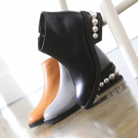 Women's back beads side zip closure round toe ankle boots black gray brown
