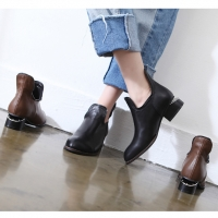 Women's round toe synthetic leather ankle zipper taping unique cut heels booties black brown