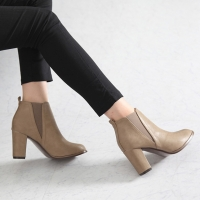 Women's elastic side gore high heels ankle boots