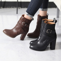 Women's elina cross belt strap chunky high heels ankle boots
