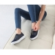 Women's synthetic wrinkles shape leather round cap toe front zip closure contrast tone sneakers navy brown gray US women size10