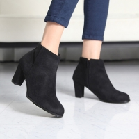 Women's round toe synthetic suede side zip side zip bold high heels ankle boots US5-US10