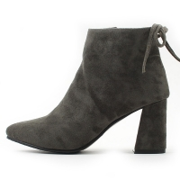 Women's back ribbon strap side zip closure pointed toe ankle boots Black Gray Brown