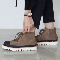 Women's cow leather side zip lace up ankle boots