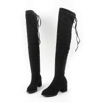 Women's synthetic suede thigh-high back strap side zip round plain toe chunky heels boots