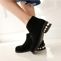 Women's suede round plain toe back beads heels ankle boots