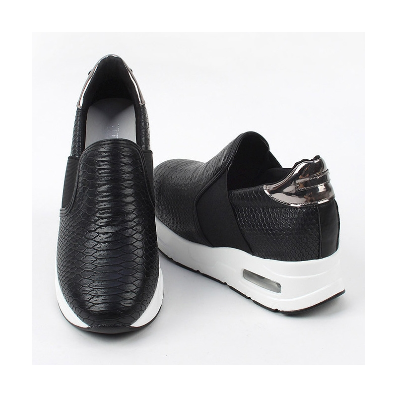 Women's synthetic snake pattern leather air thick platform ...