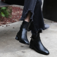 Women's synthetic leather plain square toe ankle buckle side zip closure ankle boots