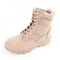 Men's beige two tone synthetic suede fabric eyelet lace up combat sole ankle boots