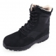 Men's black two tone synthetic suede fabric eyelet lace up velcro strap combat sole ankle boots