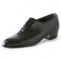 Men's pointed toe snake embossed black synthetic leather lace up high heels oxfords
