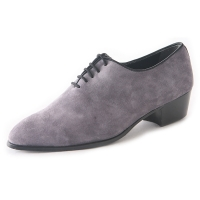 Men's pointed toe gray suede lace up high heels oxfords