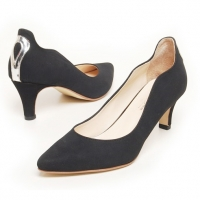 women's synthetic suede pointed toe med heels pumps US5-US10.5
