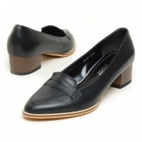 Women's sheep skin peny med heels loafers black US5-US10.5