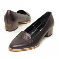 Women's sheep skin peny med heels loafers brown US5-US10.5
