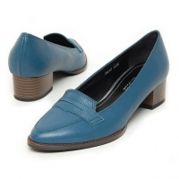 Women's sheep skin peny med heels loafers blue US5-US10.5