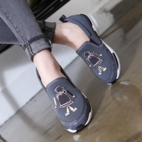 Women's synthetic fabric comfort platform sole side gore slip on sneakers black gray