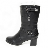 Women's black buckle strap mid calf boots