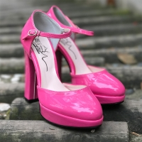 Women's glossy pink amond toe mary-jane ankle strap killer heels pumps