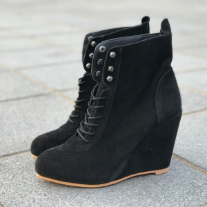 Women/'s High Wedge Heel Ankle Boots Leather Lace Up Fashion Boots Shoes Black