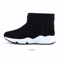 Women's synthetic suede inner fur comfort sole black ankle boots