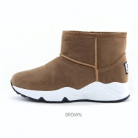 Women's synthetic suede inner fur comfort sole brown ankle boots