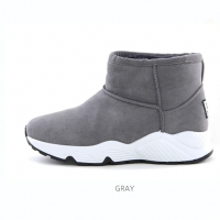 Women's synthetic suede inner fur comfort sole gray ankle boots