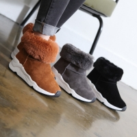 Women's warm inner fur synthetic suede wedge heel ankle boots