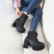 Women's synthetic leather black buckle strap chunky heels ankle boots US 5.5 - US 10