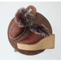 Womens round toe fur triming espadrille wedge brown mules