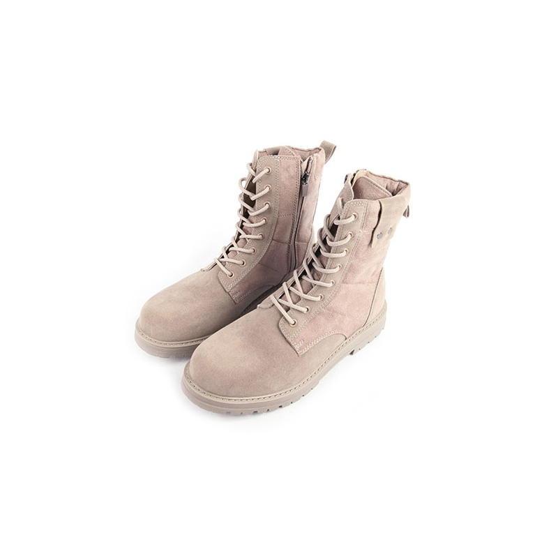 Men S Beige Synthetic Suede Combat Sole Ankle Boots