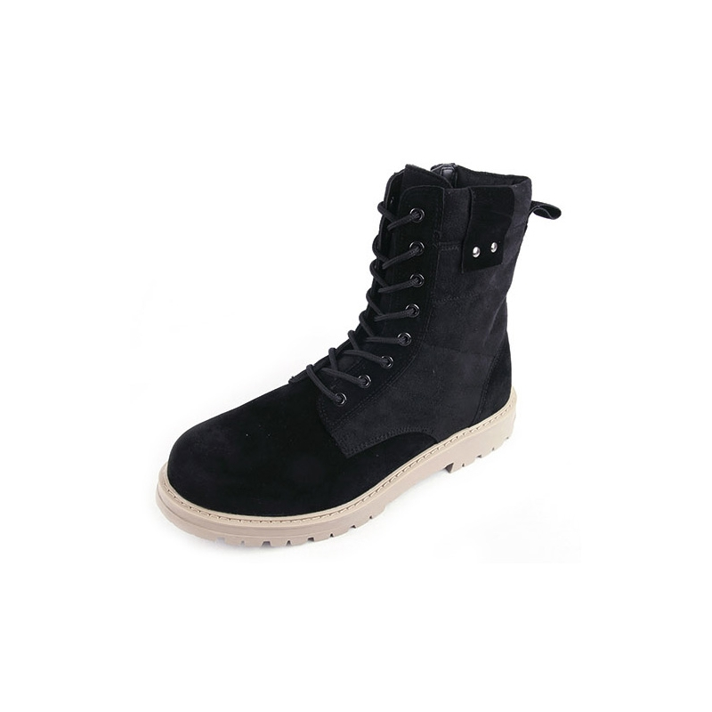 Men S Black Synthetic Suede Combat Sole Ankle Boots