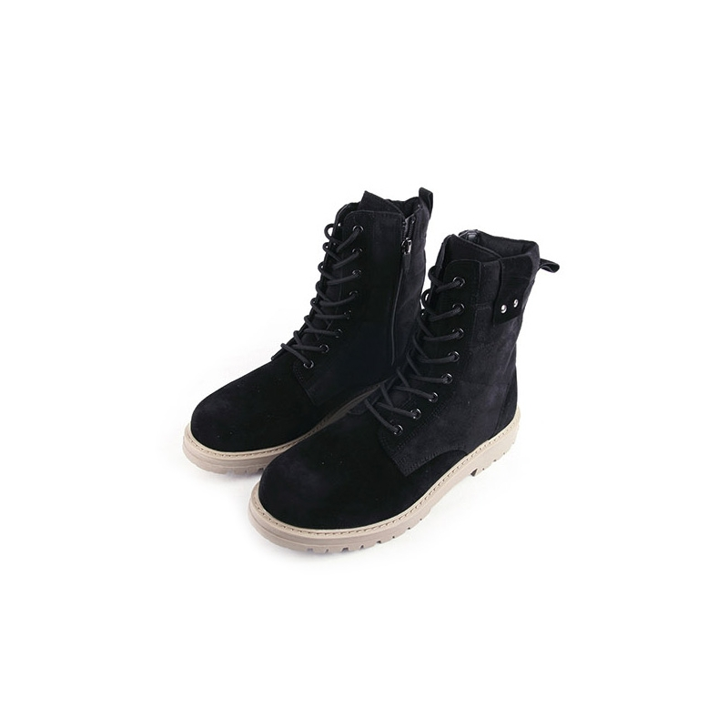 s black synthetic suede combat sole ankle boots