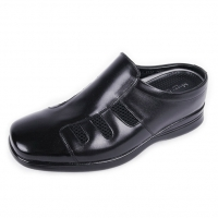 Men's square toe mesh increase height black leather hidden insole mules