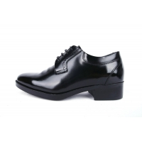 Men's wrinkle black leather increase height open lacing oxfords elevator shoes