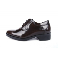 Men's wrinkle brown leather increase height open lacing oxfords elevator shoes